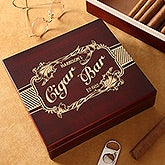 Personalized Cherry Wood Cigar Humidor - Cigar Bar - 14458