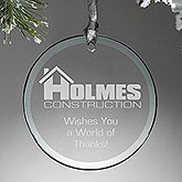 Personalized Logo Glass Round Ornament - 14459