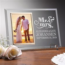 Personalized Glass Wedding Frames - Mr & Mrs - 14489