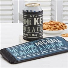 Personalized Can & Bottle Wraps - He Deserves A Cold One - 14499