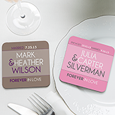 Personalized Wedding Favor Coasters - Forever In Love - 14514