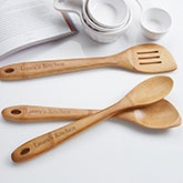 Personalized Bamboo Cooking Utensil Set - Spoons & Spatula - 14557
