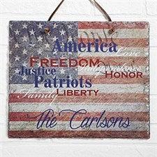 Personalized American Flag Plaque - Patriotic Family - 14581