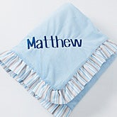 Personalized Blue Baby Blanket - embroidered velour - 14611