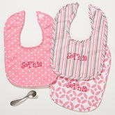 Personalized Baby Girl Bibs - Pretty in Pink - embroidered - 14612