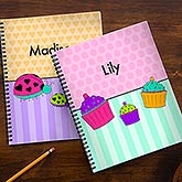 Personalized Girls Notebook Set - Flowers, Butterflies, Ladybugs & Cupcakes - 14628