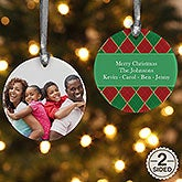Personalized Photo Christmas Ornament - Argyle - Double Sided - 14639