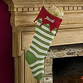 Personalized Knit Christmas Stockings - Seasonal Stripe - 14661