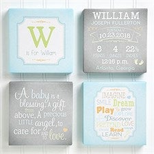 Personalized Baby Canvas Art Prints - Baby Birth Info - Set of 4 - 14666