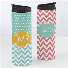 Personalized Coffee Mug Travel Tumbler - Preppy Chic Chevron  - 14702