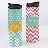 Personalized Coffee Mug Travel Tumbler - Preppy Chic Chevron  - 14702