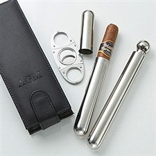 Personalized Leather Cigar & Flask Set - 14706
