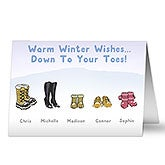 Personalized Christmas Cards - Warm Winter Wishes - Winter Boots - 14713