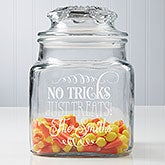 Personalized Halloween Treat Jar - No tricks, just treats - 14750