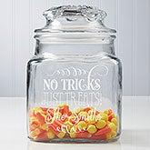 Personalized Halloween Treat Jar - No tricks, just treats - 14750