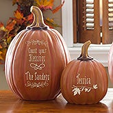 Personalized Decorative Pumpkins - Fall Decor -  Count Your Blessings - 14751