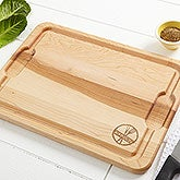 Personalized Wood Cutting Board - Engraved Maple - Family Brand - 14784