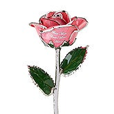 Personalized Pink Rose - Gold & Silver - 14816D