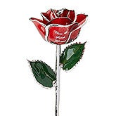 Personalized Red Rose - Wedding & Anniversary - Gold & Silver - 14818D