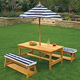 Personalized Kids Outdoor Table & Bench Set - 14821D