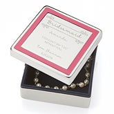 Personalized Pink Border Jewelry Box - Bridesmaid - 14829