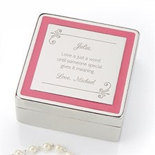 Personalized Romantic Jewelry Box - Pink Border - 14830