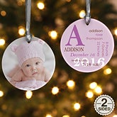 Personalized Baby Photo Christmas Ornaments - Baby Birth - Double Sided - 14842