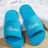 Personalized Waffle Weave Spa Slippers Aqua 14847