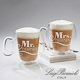 Personalized Luigi Bormioli Insulated Glass Mug Set - Mr. & Mrs. - 14878