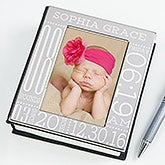 Personalized Silver Baby Picture Album - Baby Birth Information  - c3607