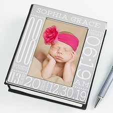 Personalized Silver Baby Picture Album - Baby Birth Information  - 14915
