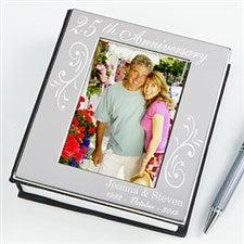 Silver Engraved Photo Album - Anniversary Memories - 14917 & 25th Anniversary Gifts | Silver Anniversary Gifts