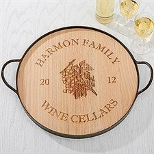 Personalized Maple Leaf Oak Serving Tray - 14936D