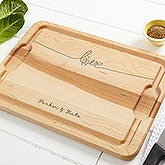 Personalized Maple Cutting Board - Lovebirds - 14958