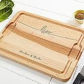 Personalized Maple Cutting Board - Lovebirds - 14958