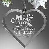 Personalized Wedding Glass Ornament - The Happy Couple - 14981