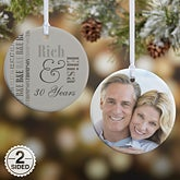 Personalized Anniversary Round Photo Ornament - 14983
