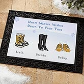 Personalized Winter Boots Doormat - Warm Winter Wishes - 14985