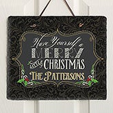 Personalized Slate Wall Plaque - Merry Little Christmas - 15000