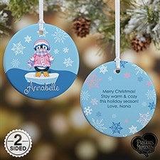 Personalized Precious Moments Penguin Christmas Ornament - 15017