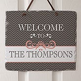 Personalized Slate Wall Plaque - Classic Chevron - 15024