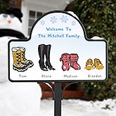 Personalized Winter Boots Garden Stake - Warm Winter Wishes - 15058