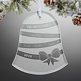 Personalized Glass Bell Christmas Ornament - Holiday Ribbon - 15064