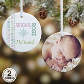 Personalized New Baby Photo Christmas Ornament - Darling Baby - 15082