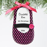 Personalized Baby Christmas Ornament - Mary Jane Baby Shoe - 15095