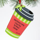 Personalized Christmas Ornament - Travel Coffee Mug - 15098