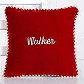 Personalized Red Velvet Christmas Pillow - Monogram Or Family Name - 15126