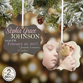 Personalized 2-Sided Photo Baby Ornament - Baby Announcement - 15144