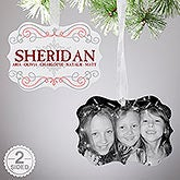 Personalized 2-Sided Photo Ornament - Family Swirl - 15145