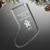 Personalized Glass Stocking Christmas Ornament - Create Your Own - 15154